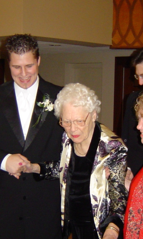 Grandma Marion at Chris' wedding in 2004